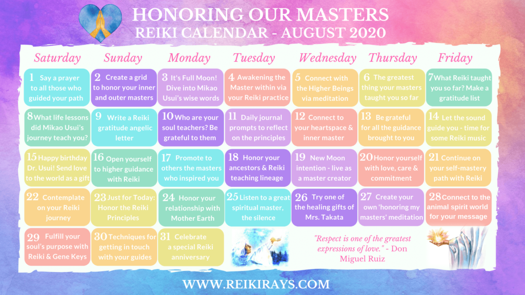 Honoring our Masters Reiki Calendar