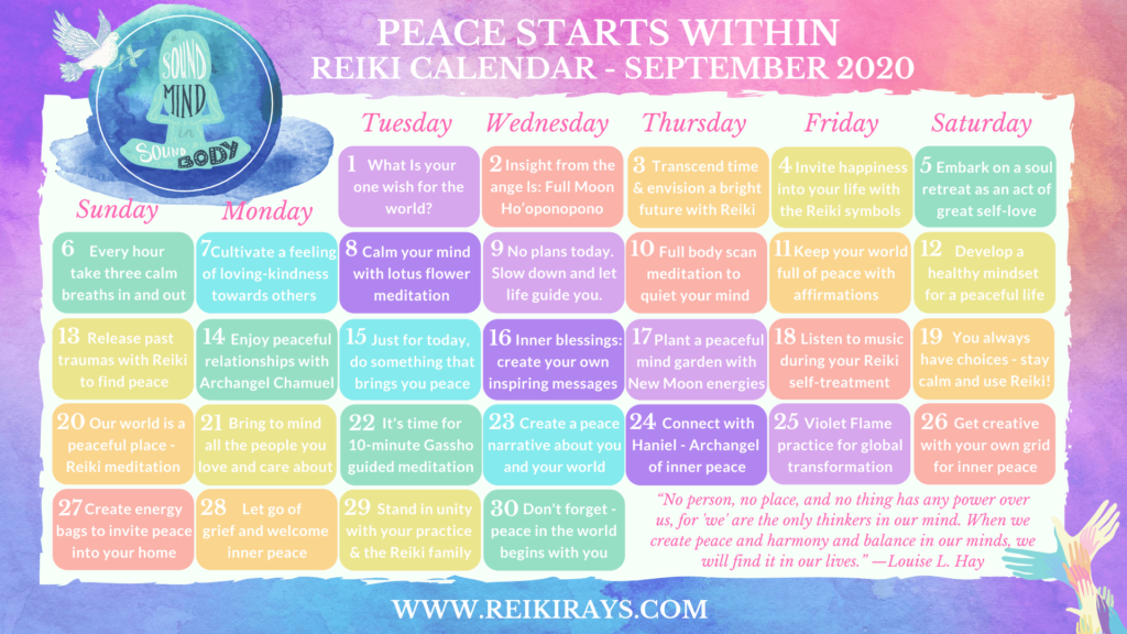 Peace Starts Within Reiki Calendar