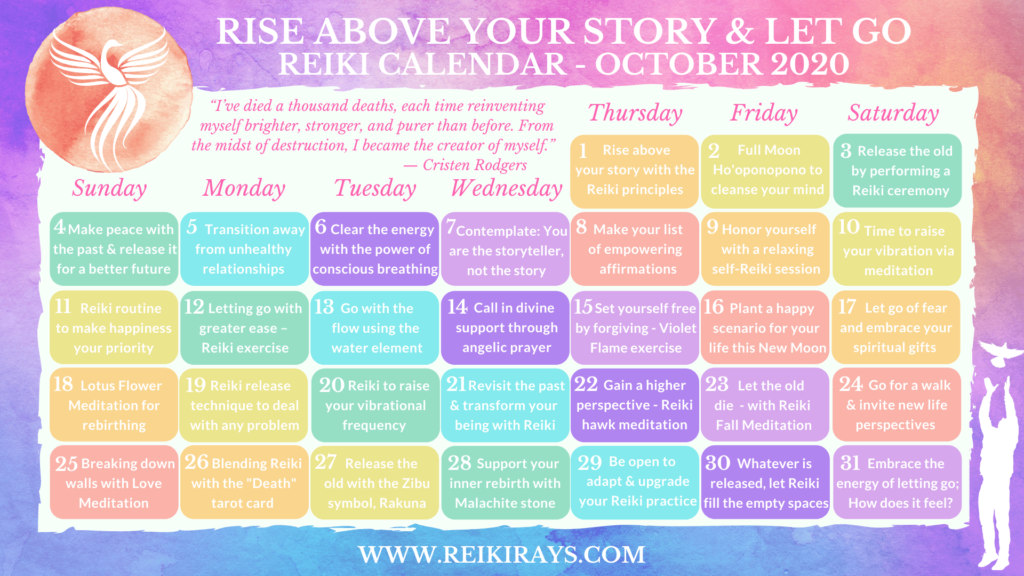 Rise Above Your Story & Let Go Reiki Calendar October 2020