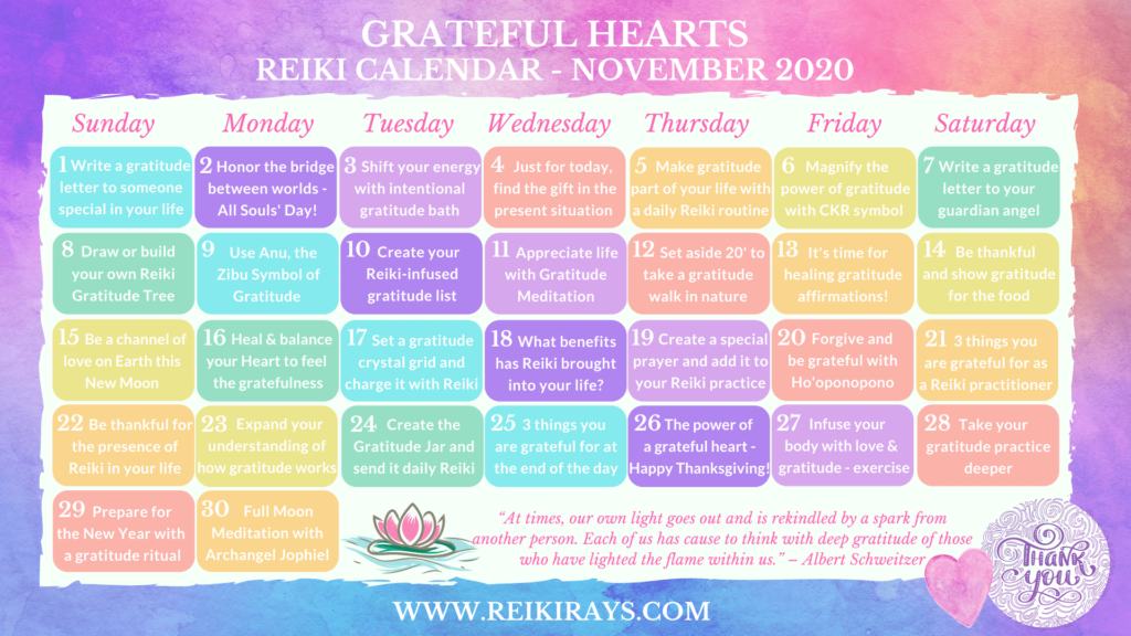 Grateful Hearts Reiki Calendar