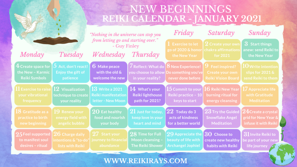 New Beginnings - Reiki Calendar January 2021