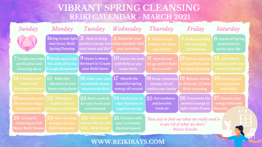 Vibrant Spring Cleansing Reiki Calendar March 2021
