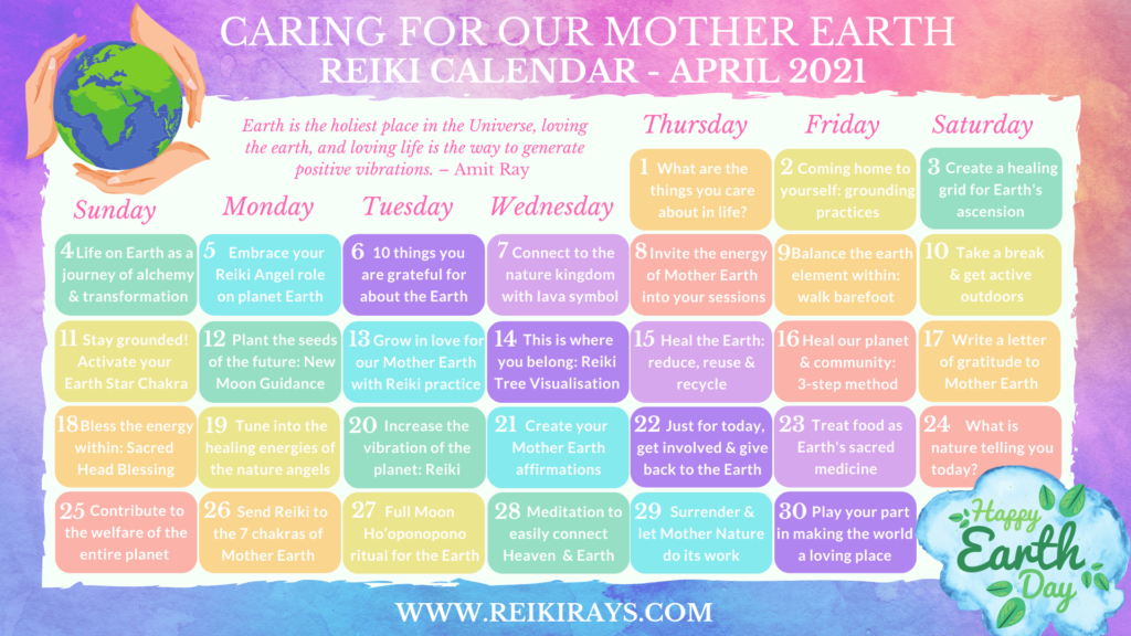 Caring for Our Mother Earth - Reiki Calendar April 2021